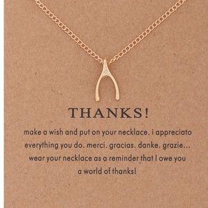 Jewelry - Inspirational Thank you Wishbone Necklace NEW